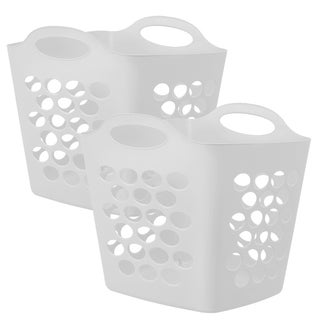 Square Flex Laundry Basket, White, 2 Pack