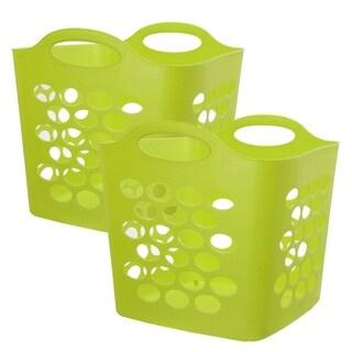 Square Flex Laundry Basket, Green, 2 Pack