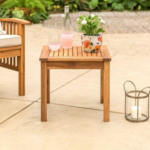 20 Inch Wood Patio Simple Side Table