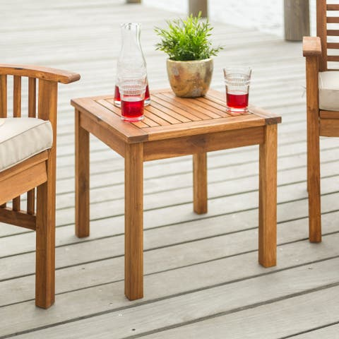 Havenside Home Surfside 20-inch Acacia Outdoor Side Table - 20 x 20 x 18h