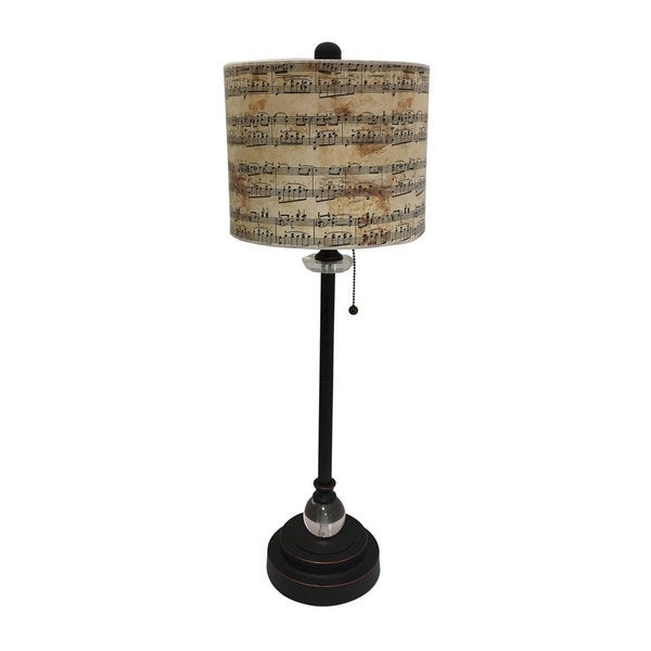 Royal Designs Oil Rub Bronze Lamp with Musical Notes Design Lamp Shade
