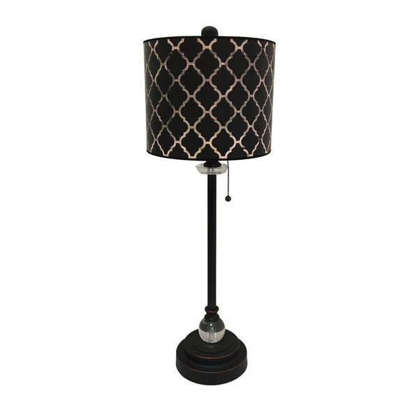 Royal Designs Oil Rub Bronze Lamp with Black Moroccan Tile Lamp Shade