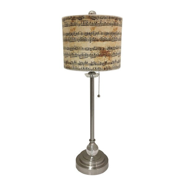 Royal Designs Brushed Nickel Lamp with Musical Notes Design Lamp Shade