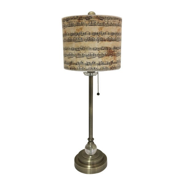 Royal Designs Antique Brass Lamp with Musical Notes Lamp Shade