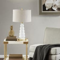Madison Park Paloma White/ Gold Table Lamp with Beige Drum Shaped Shade