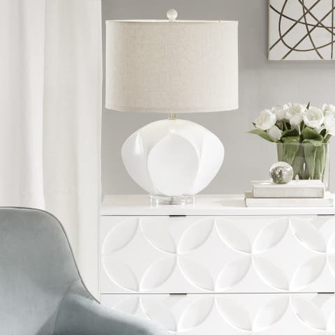 Marina White Table Lamp with Beige Drum Shaped Shade by INK+IVY