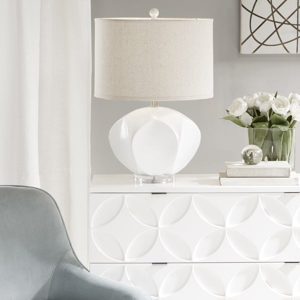 Madison Park Marina White Table Lamp with Beige Drum Shaped Shade