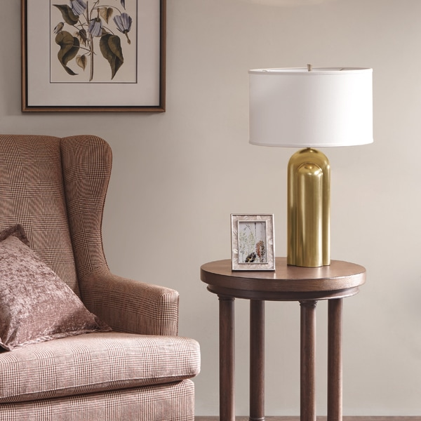 Harbor House Deco Gold Table Lamp with Cone Shaped White Shade