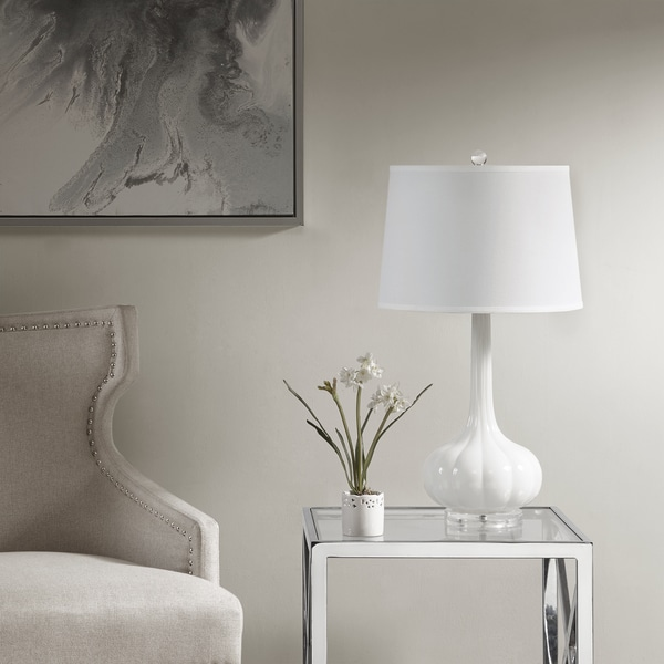 Madison Park Leighton White Table Lamp with White Drum Shaped Shade