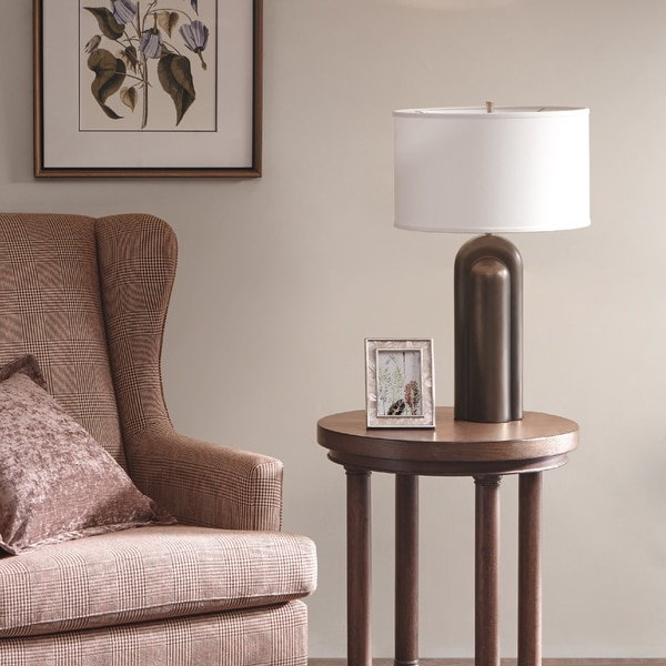 Harbor House Deco Bronze Table Lamp with Cone Shaped White Shade