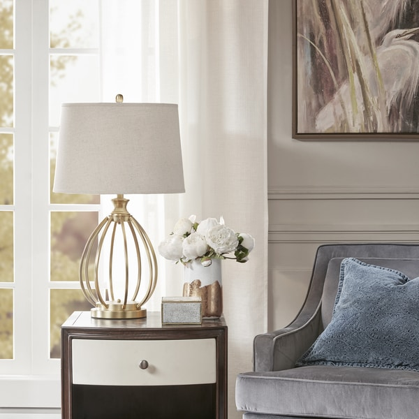 Madison Park Regent Gold Table Lamp with Beige Bell Shaped Shade