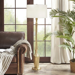 Harbor House Veronica Gold 59-inch Floor Lamp with Cone Shaped White Shade