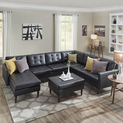 Shawna Black Leather Gel U-Shape Sectionals by iNSPIRE Q Modern