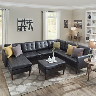 Shawna Black Button Tufted Leather Gel U-Shape Sectionals by iNSPIRE Q Modern (More options available)