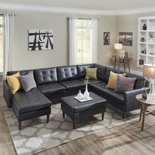 Shawna Black On Tufted Leather Gel U Shape Sectionals By Inspire Q Modern