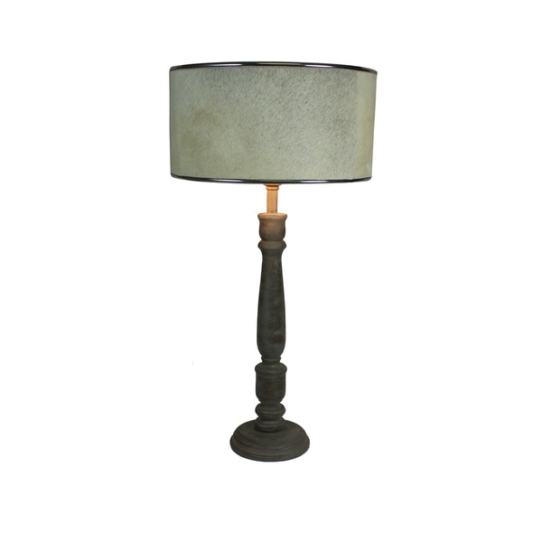 Urban Designs 27-Inch Rustic Grey Wash Solid Wood And Cowskin Table Lamp