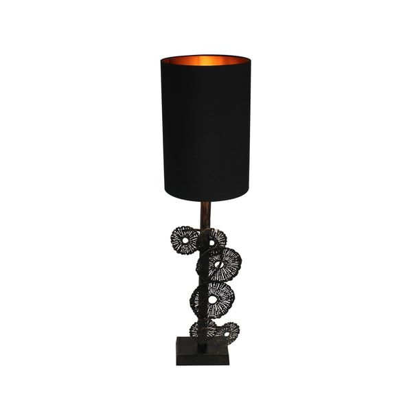 Urban Designs Zanzibar 31-Inch Rusted Gold Metal Flower Table Lamp