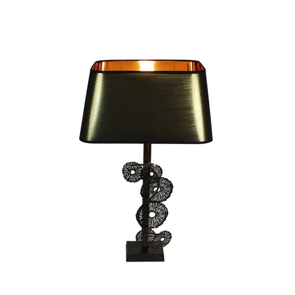 Urban Designs Zanzibar 27-Inch Rusted Gold Metal Flower Table Lamp