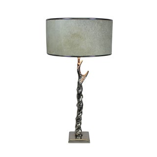 Urban Designs 27-Inch Handcrafted Twisted Nickel And Round Cowskin Table Lamp