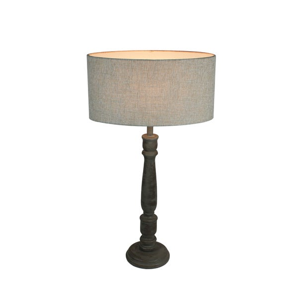 Urban Designs 27-Inch Rusted Greywash Wood And Oval Beige Table Lamp