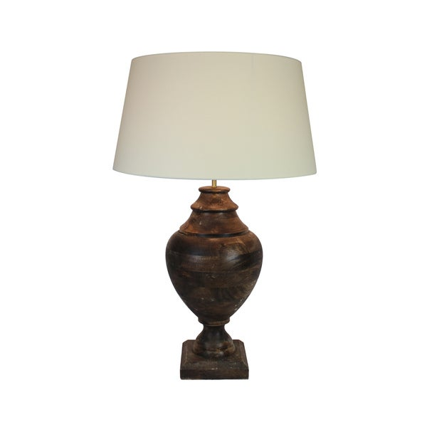 Urban Designs 35-Inch Handcrafted Oversized Solid Wood Table Lamp