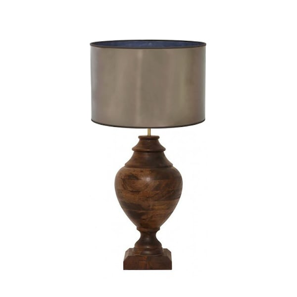 Urban Designs 34-Inch Handcrafted Oversized Solid Wood And Drum Metallic Brown Table Lamp