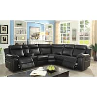 Furniture of America Tulsa Contemporary Black Leatherette Dual Recliner Sectional