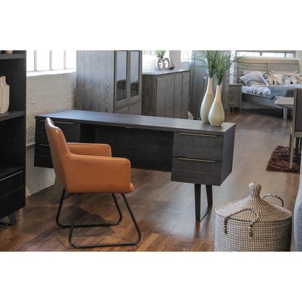 Live Edge Brown Oak 4-drawer Rustic Writing Desk