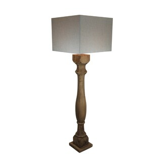 Urban Designs Rustic 66-Inch Handcrafted Solid Wood And Square Beige Shade Floor Lamp