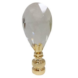 Royal Designs Radiant Teardrop Clear Crystal Lamp Finial for Lamp Shade-Polished Brass Base