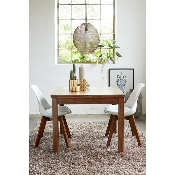 Walnut Modern Square Extendable Dining Table