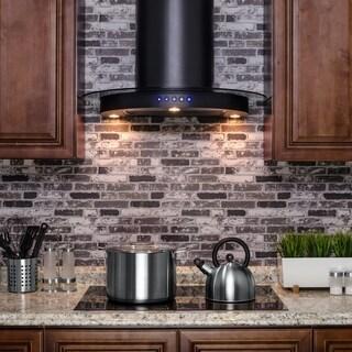 "AKDY RH0205 30"" Black Stainless Steel Wall Mount Range Hood Touch Control Cooking Fan"