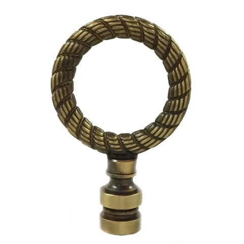 Royal Designs Rope Wreath Lamp Finial for Lamp Shade- Antique Brass