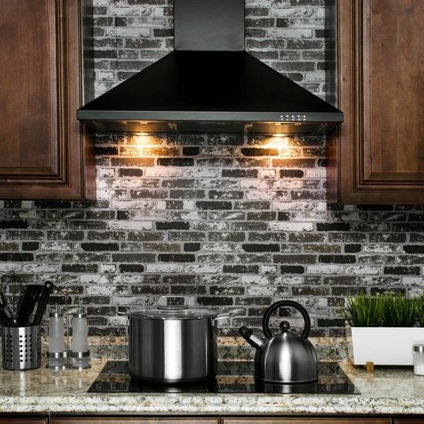 "AKDY RH0206 30"" Stainless Steel Wall Mount Range Hood Push Button Control Aluminum Mesh Filter Cooking Fan"