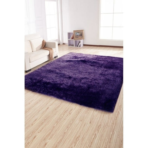 Handmade Solid Purple and Hand Tufted Shaggy Rug - 4' x 5'4