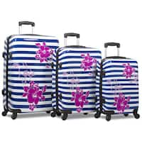 World Traveler Floral Stripe Rolite 3-Piece Hardside Spinner Combination Lock Luggage Set