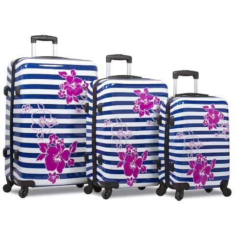 World Traveler Hawaiian Floral Stripe 3-Piece Hardside Spinner Luggage Set