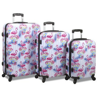 World Traveler Rolite Flamingo 3-piece Hardside Spinner Combination Lock Luggage Set