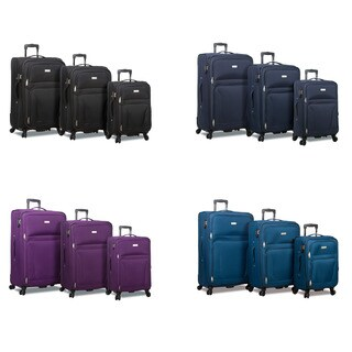 World Traveler Rolite 3-Piece Expandable Spinner Combination Lock Luggage Set