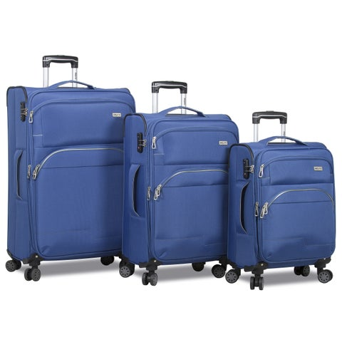 World Traveler 3-Piece Lightweight Expandable Spinner Combination Lock Luggage Set