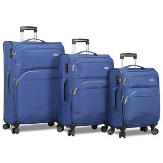 World Traveler 3-Piece Lightweight Expandable Spinner Combination Lock Luggage Set
