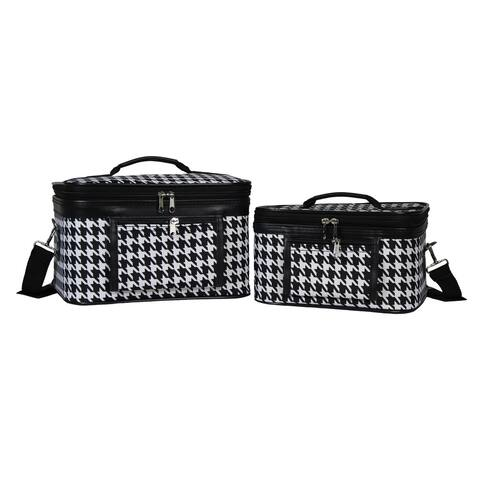 World Traveler Houndstooth 2-Piece Train Cosmetic Case Set