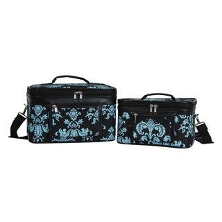 World Traveler Damask 2-Piece Train Cosmetic Case Set