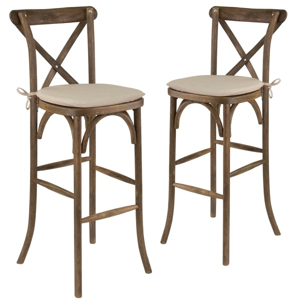 2 Pk Hercules Series Wood Cross Back Barstool With Cushion Free Shipping Today 19887508