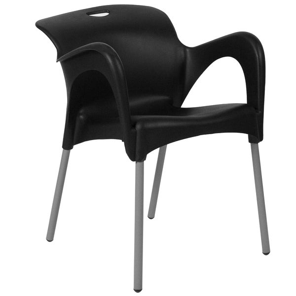 HERCULES Series Plastic Stack Chair with Arms and Titanium Frame