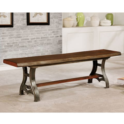 The Gray Barn Maiden Castle Industrial Brown Cherry Live Edge Dining Bench