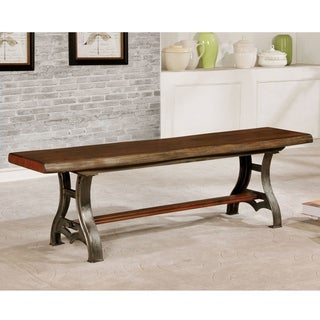 Furniture of America Roman Industrial Brown Cherry Live Edge Dining Bench