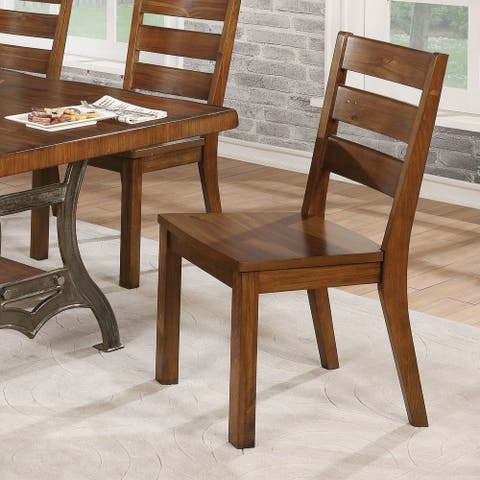 The Gray Barn Maiden Castle Industrial Brown Cherry Slatted Side Chair (Set of 2)