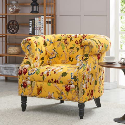 The Curated Nomad Lagunetas Chesterfield Yellow Multi Floral with Birds Arm Chair