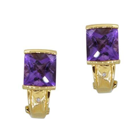 Kabella 14k Yellow Gold Cushion Amethyst & Diamond Earrings